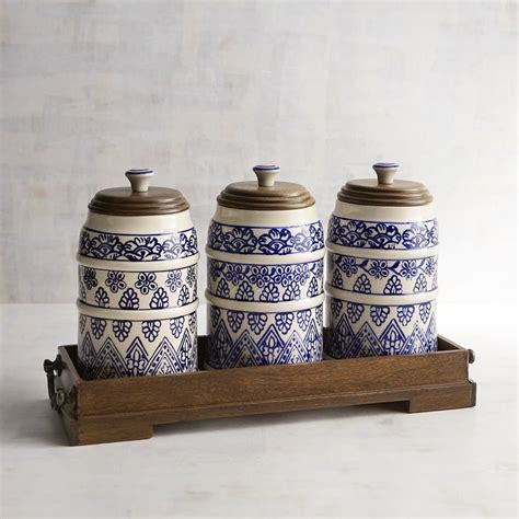 beautiful kitchen canisters kitchen decor beautiful blue white painted canister