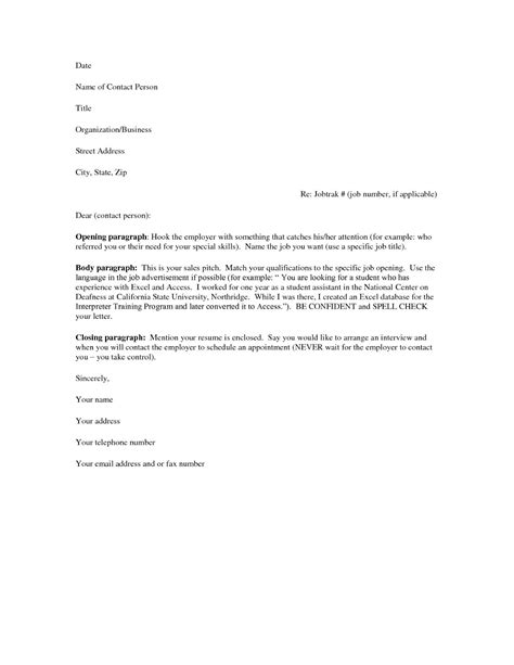 Cover Letter Of A Resume Format by Free Cover Letter Sles For Resumes Sle Resumes