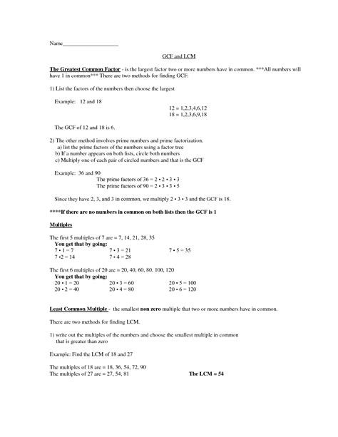gcf and lcm worksheets grade 4 free worksheets for prime