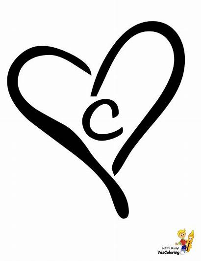 Alphabet Heart Coloring Valentine Number Yescoloring Letter