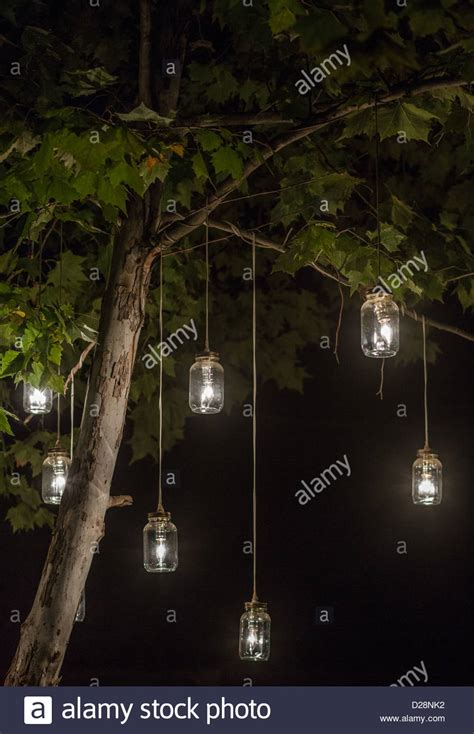 glowing jar lights hanging from a tree stock photo