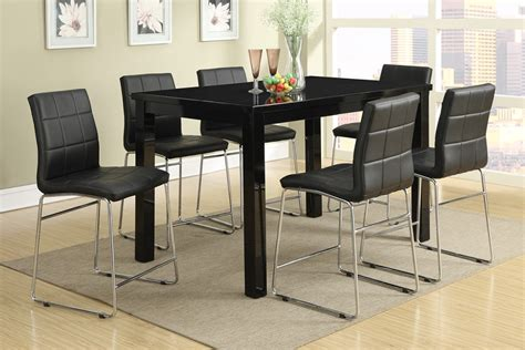 modern counter height table 7pc modern high gloss black counter height dining table set