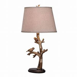 Shop kenroy home 2725 in bronze plug in 3 way table lamp for Lowes branch floor lamp