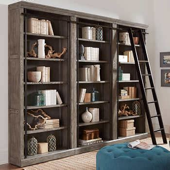 Bookcase Photos by Tuscan 3 Bookcase Wall And Ladder