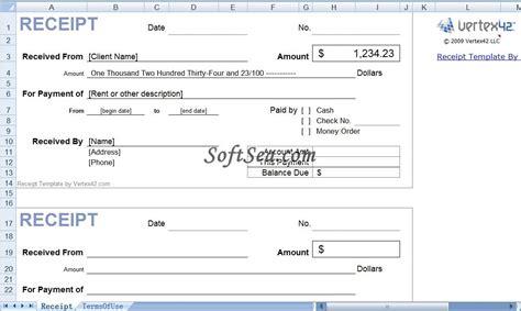 receipt templates  excel screenshot