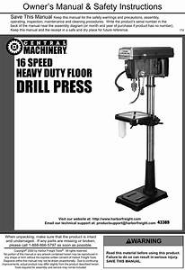 Manual For The 43389 16 Speed Floor Drill Press