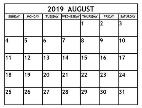 blank august  calendar printable template editable