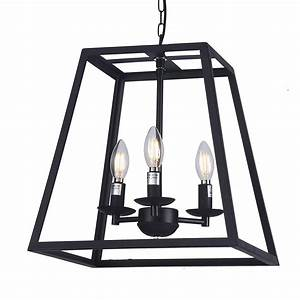 Wideskall, 14, U0026quot, Modern, Black, Metal, Iron, Frame, Square, Cage, Chain, Hanging, Chandelier, Ceiling, Light, 3