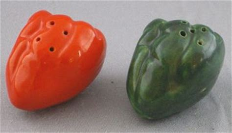 vintage red  green chili peppers salt  pepper