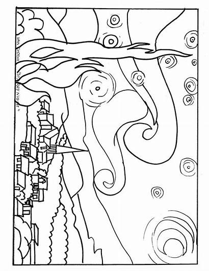 Night Starry Coloring Pages Van Gogh Printable