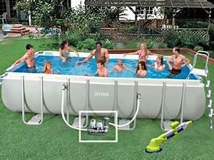 Piscine Hors Sol Rectangulaire Intex : kit piscine hors sol tubulaire intex ultra silver rectangulaire x x avec robot ~ Melissatoandfro.com Idées de Décoration