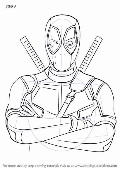 Deadpool Draw Step Drawing Tutorials Cartoon Characters