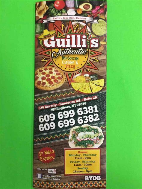 Soul Boat Restaurant Menu Willingboro Nj by Menu Of Guilli S Pizza Mexican Cuisine Restaurant
