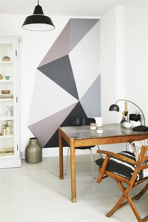 awesome geometric walls  vibrant colors home design  interior
