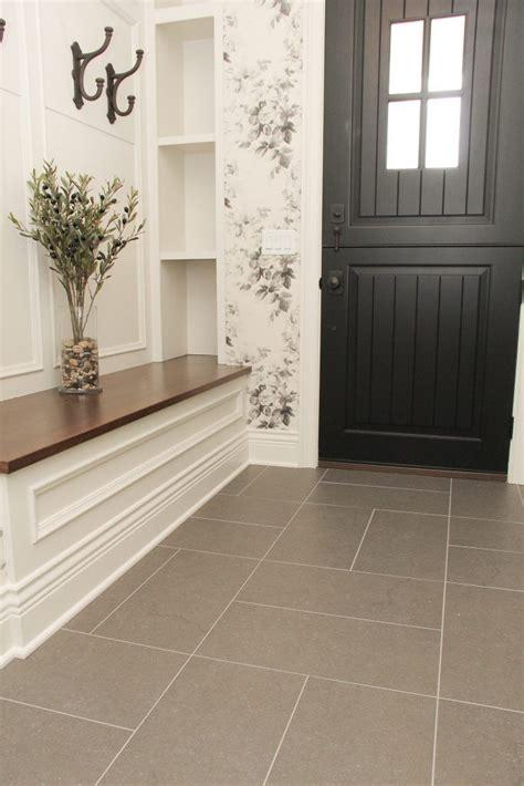gray tile entry  floor foyer flooring hall tiles