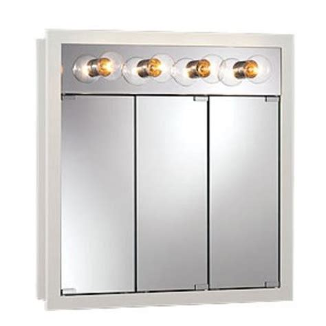 Nutone Medicine Cabinets With Lights by Nutone 755371 Tri View Wood Medicine Cabinet With 4 Light