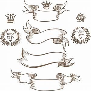 Retro hand drawn ribbon with ornaments vector 01 – Over ...