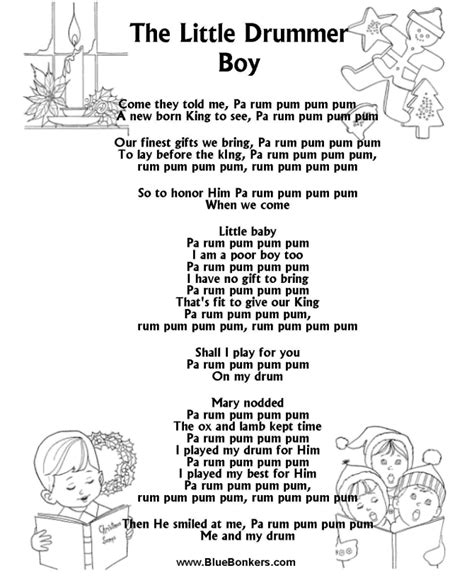 Bluebonkers The Little Drummer Boy, Free Printable