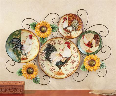 Decorative Chicken Plates - rooster decorative wall country kitchen rustic plate