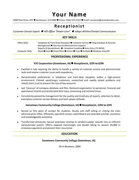 professional resume template for receptionist sidemcicek