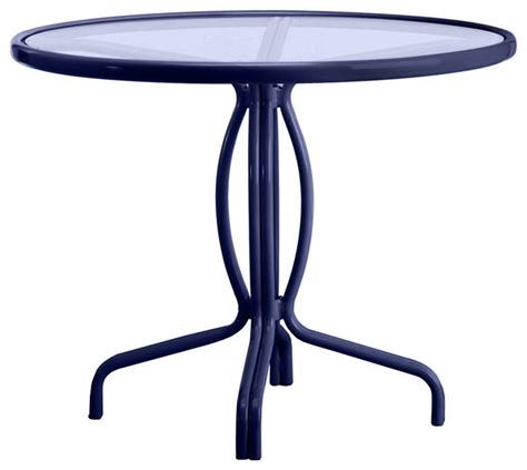 round glass patio table with umbrella hole tamiami 36 quot round bistro dining table glass top no