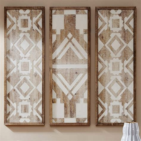 Perfect for any room of your home. Vintage White Wood Wall Art - Set of 3