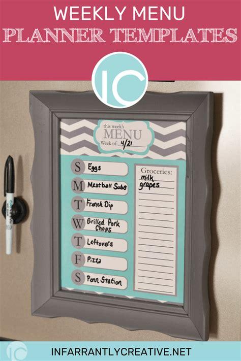 weekly menu planner templates infarrantly creative