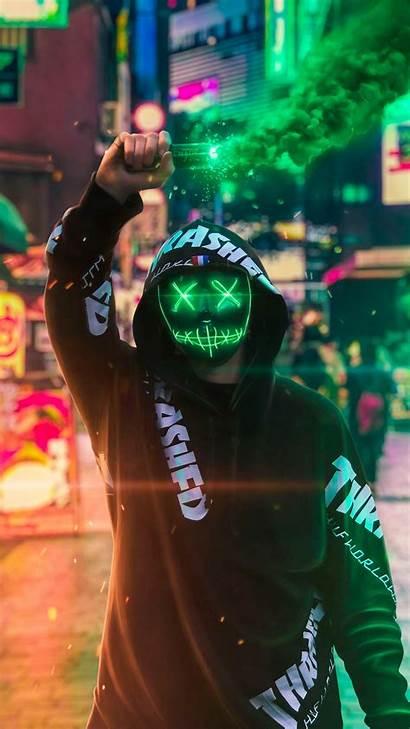 Neon Mask Pantalla Fondos Smoke Guy