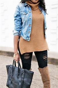 Women fashion- denim jacket outfit- brown suede over the knee boots- sam edelman tatum otk boot ...