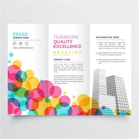 Abstract Colorful Brochure Design Template Vector Tri Fold Colorful Tri Fold Brochure Design Made With Circles