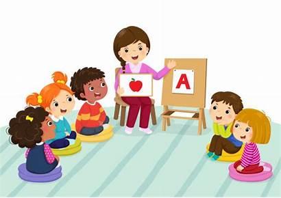 Clipart Classroom Sitting Preschool Teacher Clip Vector