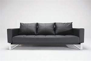 Leather sofa bed modern black for Black leather modern sectional sofa sleeper with ottoman