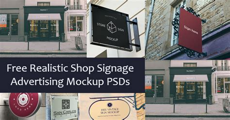 realistic shop signage advertising mockup psds