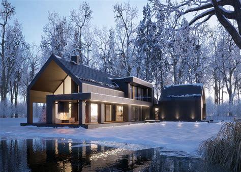 türkranz winter modern modern black winter house vis for lk projekt pl on behance home in 2019 아름다운 집 집 꾸미기 집
