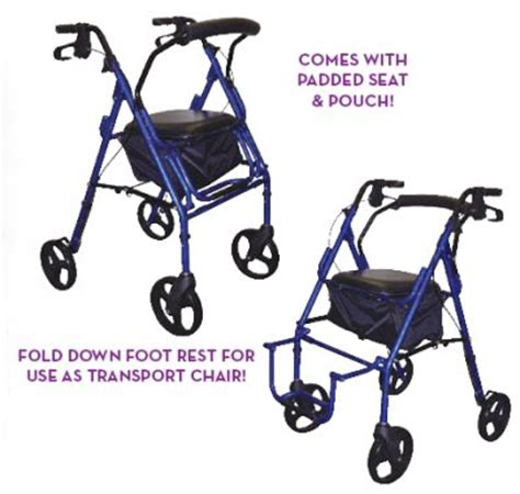 300 Lb Capacity Rollator Transport Chair Combo by Duet Combination Rollator Walker Transport Wheelchair