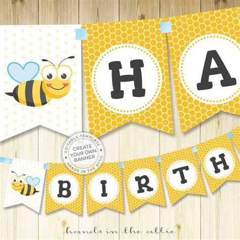 bumble bee alphabet banner template hands   attic