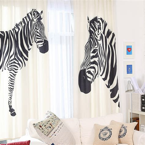 modern cotton and linen stylish zebra print curtains