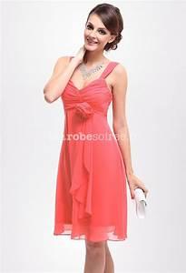 robe de soiree loren en mousselin courte corail avec deux With robe soirée corail