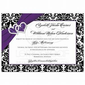 wedding invitation purple black white damask joined With blank silver wedding invitations