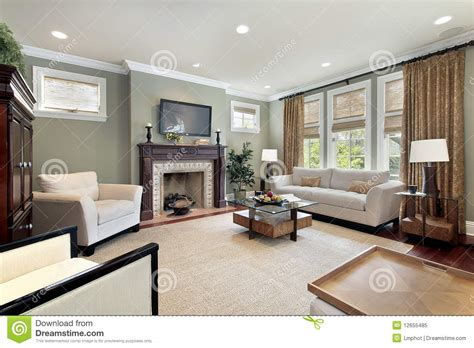 Fireplace Rug by Family Room With Wood Fireplace Royalty Free Stock Photo