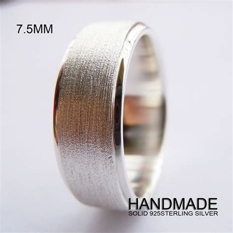 handmade mm mens solid  sterling silver plain