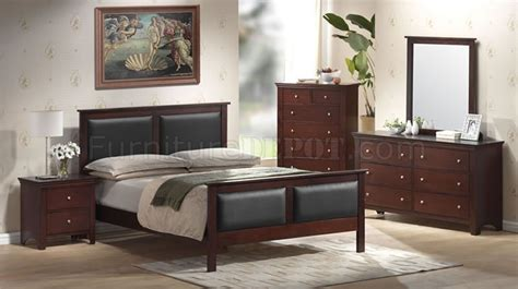 mahogany color contemporary bedroom set  leather