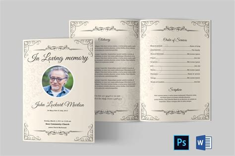 funeral program template funeral program template word etsy