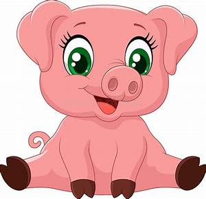 Cartoon adorable baby pig stock vector. Illustration of ...