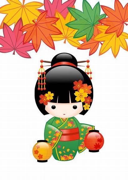 Kokeshi Dolls Doll Kimono Clipart Japanese Kawaii