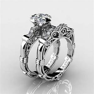 art masters caravaggio 14k white gold 125 ct princess With sapphire engagement rings with wedding band