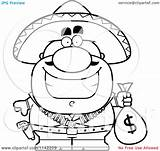 Money Coloring Bag Pages Cartoon Bandit Clipart Colouring Hispanic Holding Outlined Vector Cory Thoman Print Template sketch template