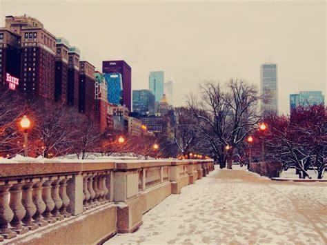 skyscrapers chicago street winter snow  wallpaper