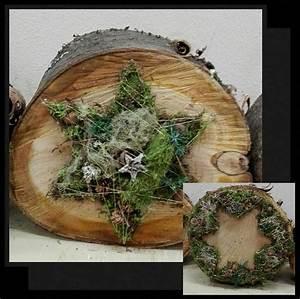 Basteln Mit Baumscheiben : baumscheibe mit drahtgeflecht und naturmaterialien ~ Watch28wear.com Haus und Dekorationen