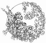 Coloring Fairy Adults Intricate Circle Adult Printable Sheets Detailed Advanced Older Tinkerbell Fantasy Colouring Pretty Mandala Printables Grown Ups Flowers sketch template